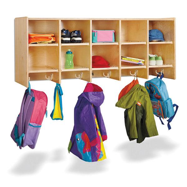 Jonti-Craft 10 section wall mount coat locker