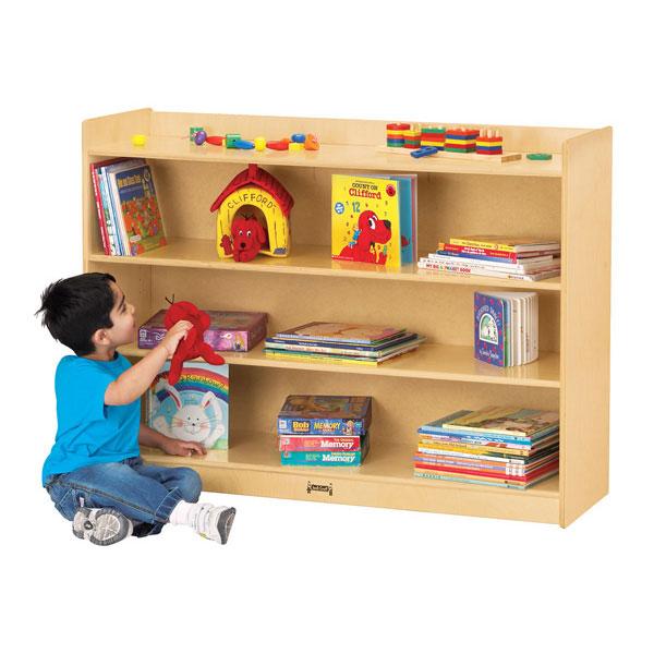 Jonti-Craft adjustable mobile straight-shelf with lip