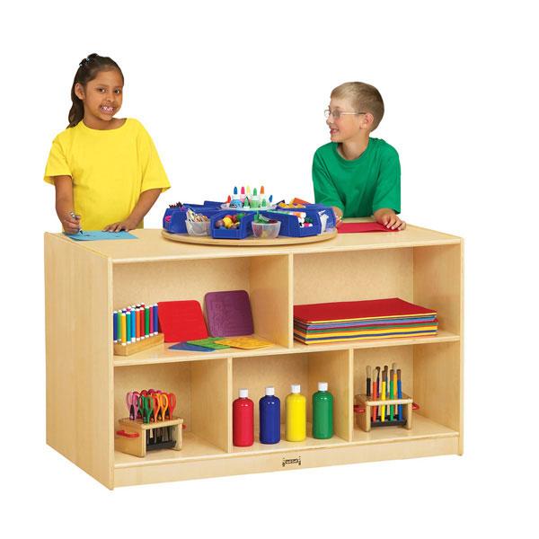 Jonti-Craft double-sided island shelf storage