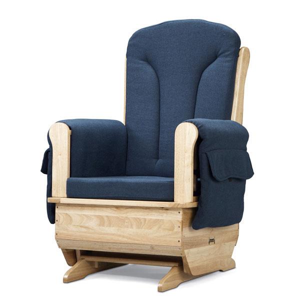Jonti-Craft glider rocker chair with blue cushions