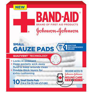 """Band-Aid First Aid Gauze Pad, 2"""" x 2"""" Assorted Size, Small"""