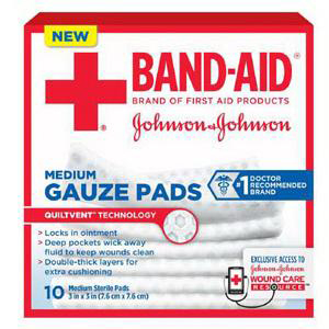 "Band-Aid First Aid Gauze Pad, 3"" x 3"" Assorted Size, Medium"