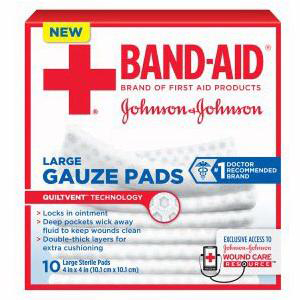 """Band-Aid First Aid Gauze Pad, 4"""" x 4"""" Assorted Size, Large"""