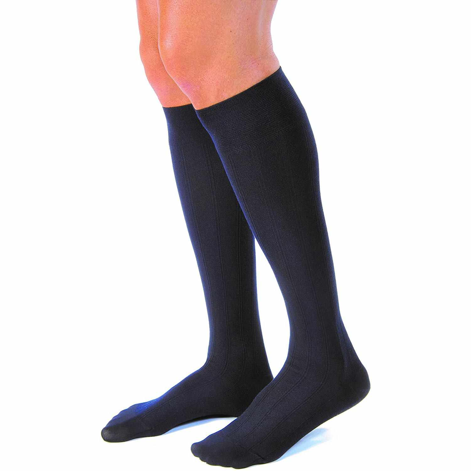 Jobst Casual Knee-High Men Compression Socks, Closed Toe, X-Large, Navy