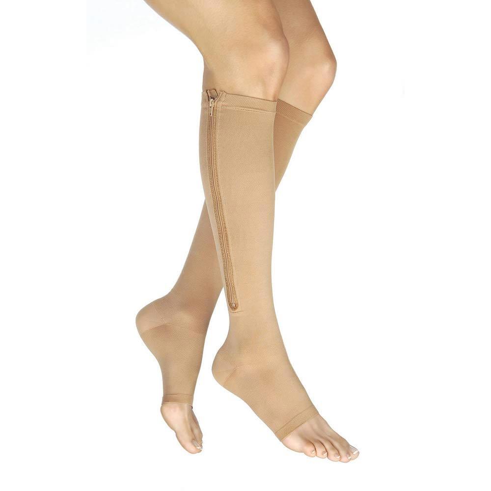 Jobst Vairox Zipper Compression Stockings, Open Toe, Medium Short, Beige