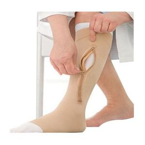 Jobst Ulcercare Zippered Compression Stocking and Liner, Beige, Open Toe, Unisex