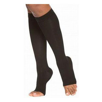 Jobst unisex UlcerCare knee-high Extra firm stocking, open toe, X-large, black