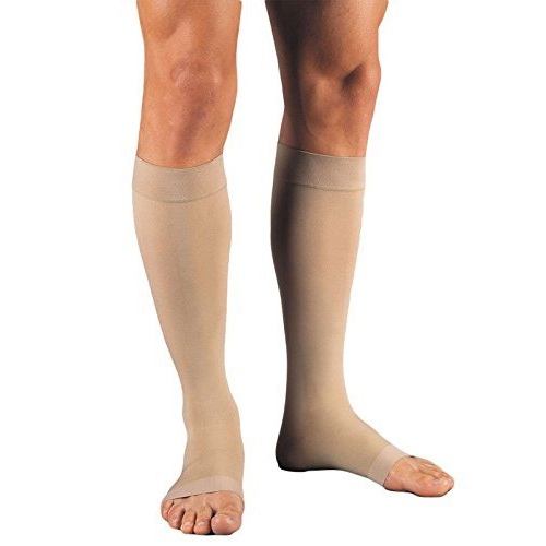 Jobst Unisex Relief Knee-High Extra Firm Stockings, Open Toe, X-Large, Full Calf, Beige