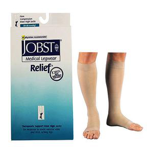 Jobst Unisex Relief Knee-High Firm Compression Stockings, Beige