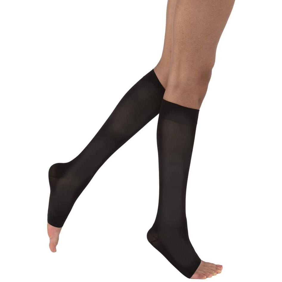 Jobst Opaque Knee-High Open Toe Compression Stocking, XL, Classic Black