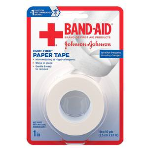 """Band-Aid First Aid Hurt-Free Paper Tape, 1"""" x 10 yards"""