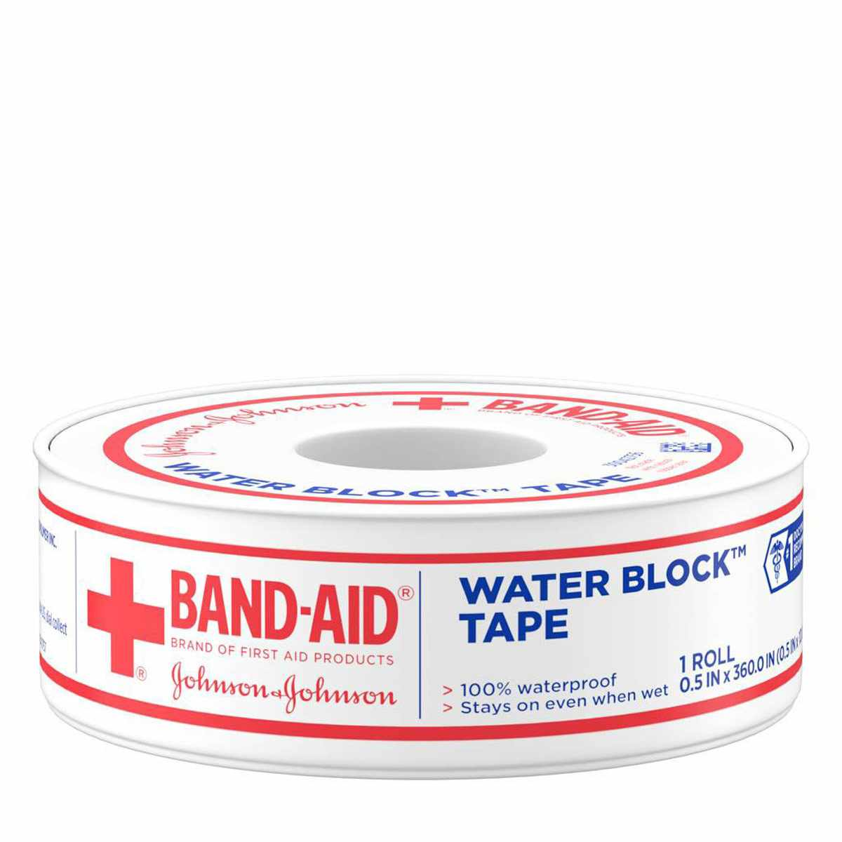 J & J Band-Aid First Aid Water Block Tape, 0.5 X 10 Yards