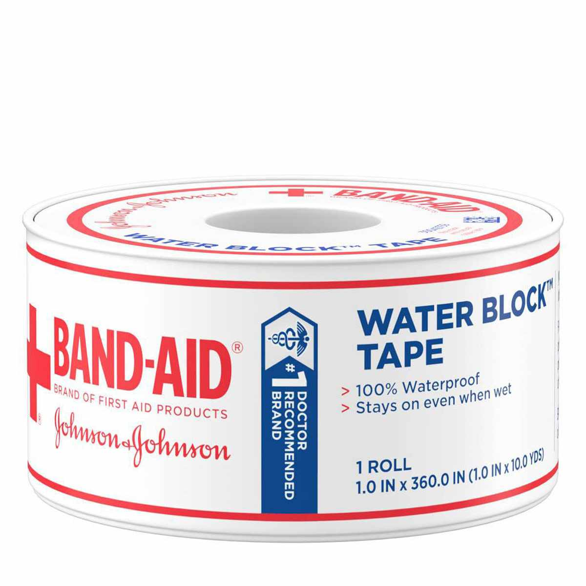 J & J Band-Aid First Aid Water Block Tape, 1 X 10 Yards