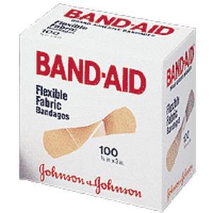 "Band-Aid Flexible Fabric Strip Adhesive Bandag 3/4"" x 3"", Sterile"