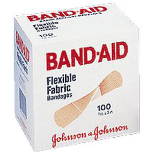 "Band-Aid Flexible Fabric Adhesive Bandages 1"" x 3"", Beige, Sterile"
