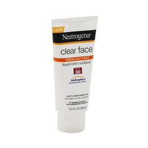 Neutrogena Clear Face Liquid Sunscreen Lotion, SPF 30, 3 oz