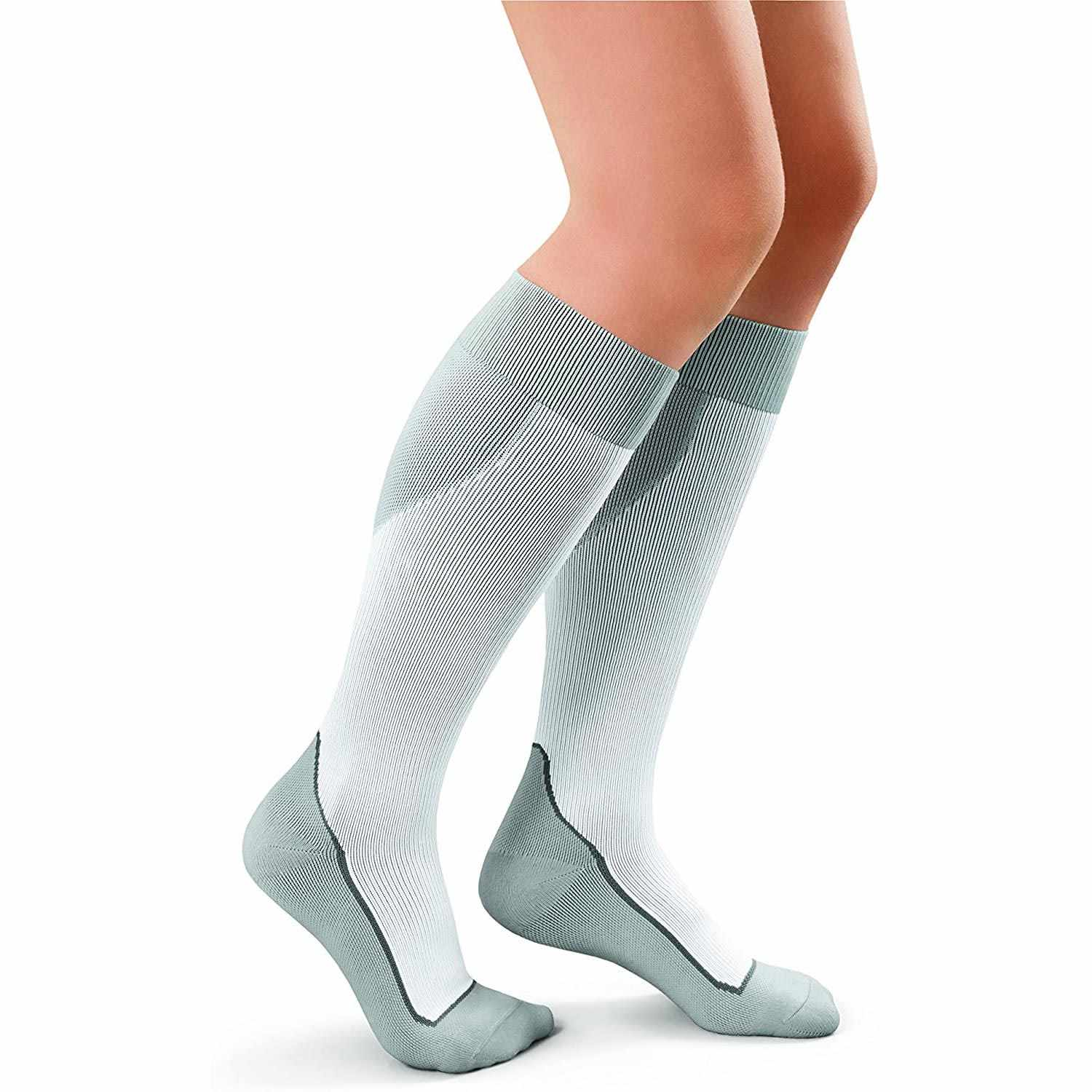 Jobst Knee-High Firm Close Toe Sport Compression Socks, Large, White/Grey