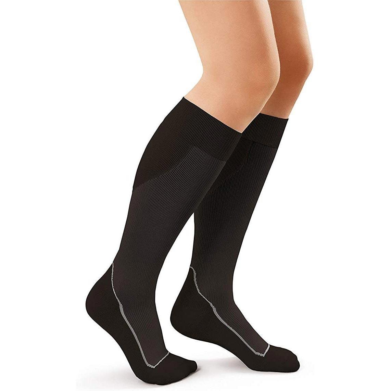 Jobst Sport Knee-High Firm Close Toe Compression Socks, Medium, Cool Black