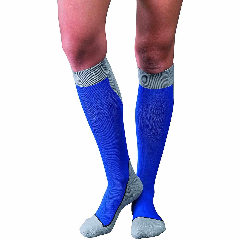 Jobst Sport Knee-High Firm Compression Socks, Medium, Royal Blue/gray