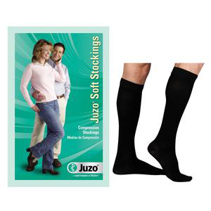 Juzo Soft Knee-High Moderate Stockings, Closed Toe, Short, Black, Size 4
