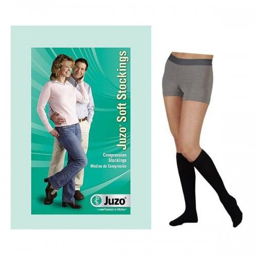 Juzo Soft Opaque Compression Stockings, Black, Size 3 Regular