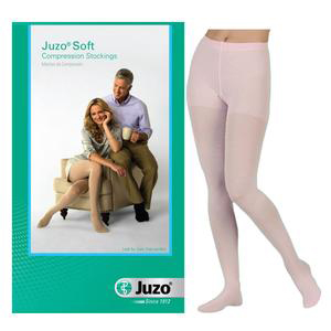 Juzo Soft Firm Compression Stocking Pantyhose with Fly, Full Foot, Size 3, White