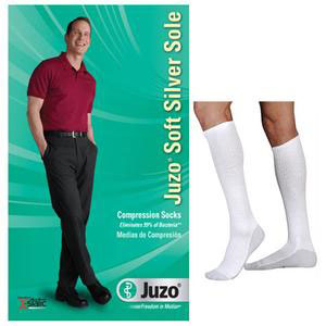 Juzo Soft Knee-High Compression Socks with Silver Sole, Size 3, White