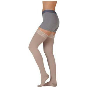 Juzo Silver Soft Thigh-High Compression Stockings, Size 4 Regular, Beige