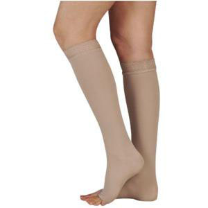 Juzo Naturally Sheer Knee-High Compression Stockings, Open Toe