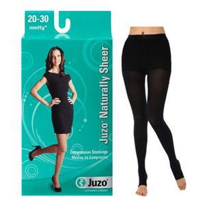 Juzo Naturally Sheer Compression Pantyhose, 20-30 mmHg, Open Toe, Size 2, Black
