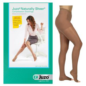 Juzo Naturally Sheer Compression Pantyhose, 30-40 mmHg, Open Toe, Size 4, Beige