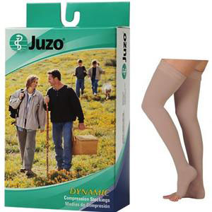 Juzo Dynamic Thigh-High Compression Stocking, Open toe, Petite, Size 1, Beige