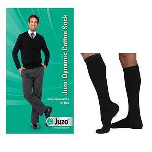 Juzo Dynamic Cotton Men's Knee-High Firm Compression Sock, Size 4, Black