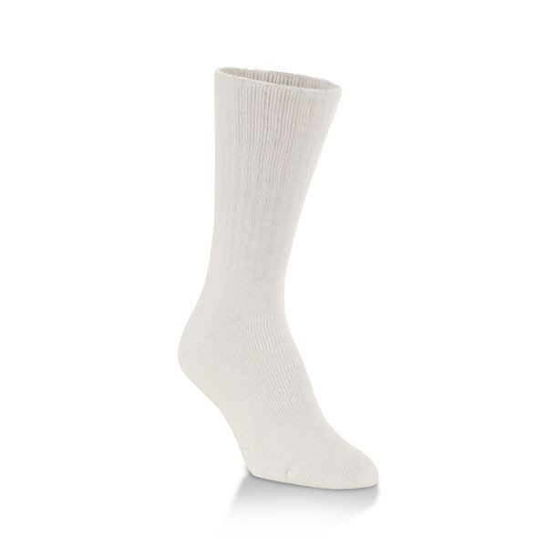 Juzo Silver Sole Crew Full-Foot Support Socks, 12-16 mmHg, Medium, White