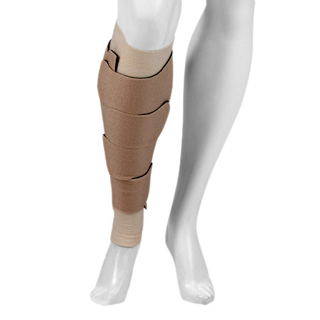 Juzo Calf Compression Wrap, 20-40 mmHg, Large Long, Black and Beige Reversible