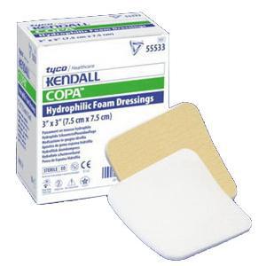 "Kendall Copa Plus Hydrophilic Ultra-Soft Foam Dressing with Topsheet, 6"" x 6"""