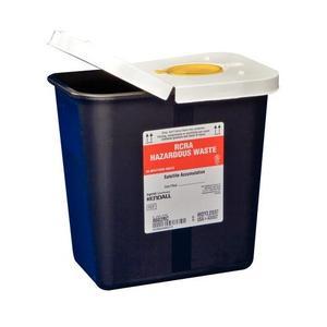 Kendall SharpSafety RCRA Hazardous Waste Container Hinged Lid, Snap Cap 2 Gallon Capacity