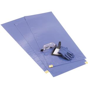 "Kendall ChemoPlus Adhesive Contamination Control Floor Mat Blue 18"" x 46"""