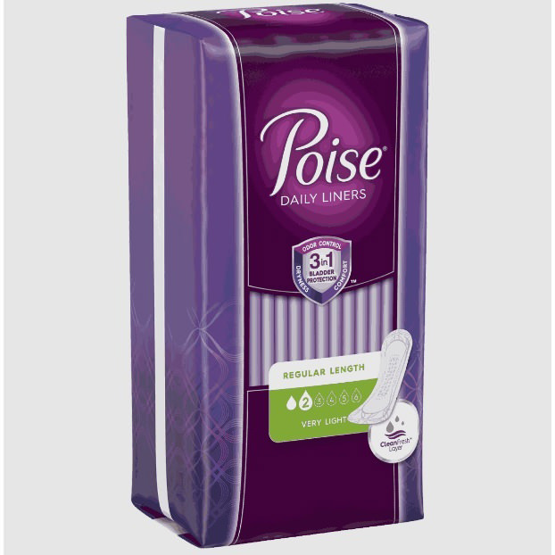 """Poise Absorb-Loc Light Absorbent Control Pad, 7.5"""" Length"""