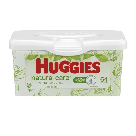 """Huggies Natural Care Aloe Baby Wipes Unscented 7-7/10"""" x 6-7/10"""""""