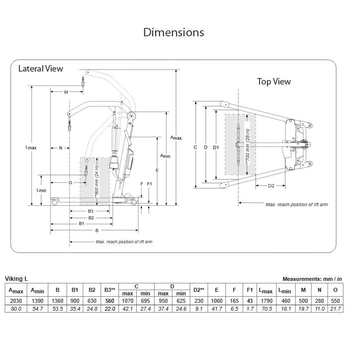 Viking® L patient lift dimensions