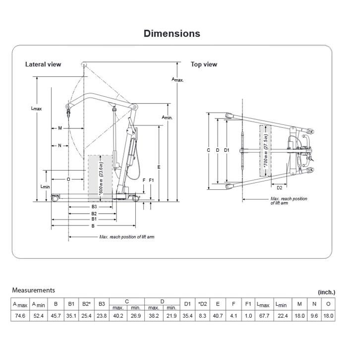 Liko M230 patient lift dimensions