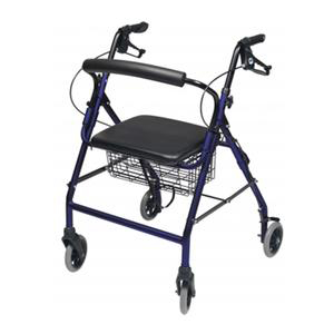 Lumex Walkabout Wide Four-Wheel Patient Rollator Royal Blue