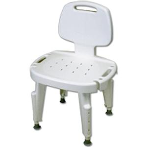 Maddak Bath Safe Adjustable Shower Seat with Back, No Arms, 300 lb Capacity