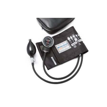 LUMEON 2-Tubes Aneroid Sphygmomanometer with Cuff, Black, Adult Large