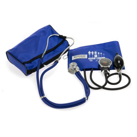 McKesson Aneroid Sphygmomanometer Combo Kit with Cuff and Stethoscope, Royal Blue