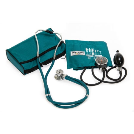 McKesson Aneroid Sphygmomanometer Combo Kit with Cuff and Stethoscope, Teal Green