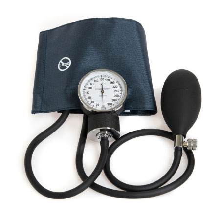 McKesson 2-Tubes Aneroid Sphygmomanometer with Cuff, Small Navy Blue Cuff