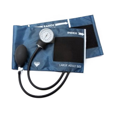McKesson 2-Tubes Aneroid Sphygmomanometer with Cuff, Large Navy Blue Cuff