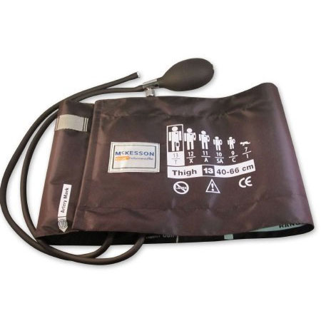 McKesson Reusable Thigh Blood Pressure Cuff and Bulb, X-Large Brown Cuff